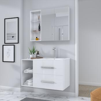 SONIX 890 WHITE WALL HUNG UNIT straight Wall Hung Fashionable
