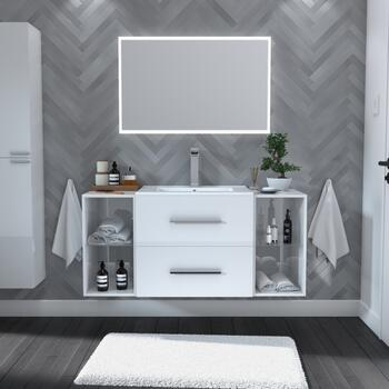 White wall hung 2 drawer vanity unit