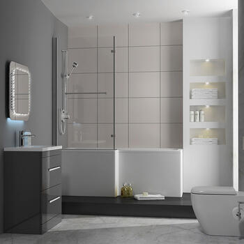 PATELLO 60 Grey L SHAPED SHOWER BATH SUITE Brilliant Quality Stylish