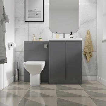 Front View of Mercury 1200 Small Bathroom Suite with Basin and WC Toilet Unit