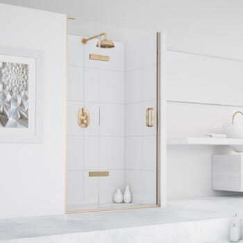 Eauzone Hinged Door with Hinge Panel for Recess 900mm Designer Bathroom