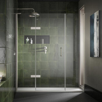 Eauzone Hinged Door with Hinge Panel and Inline Panel For Recess 1500mm Luxurious Stylish Bathroom Accessory