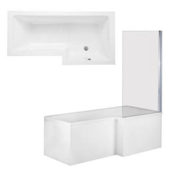 Qube Shower Bath Front, End Panels & Double Hinged Shower Screen Right Hand Shower Bath