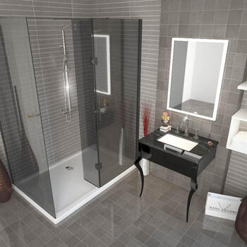 Victoriana Shower Suite large Walk In Shower Enclosure & Basin Wash Stand - 175348