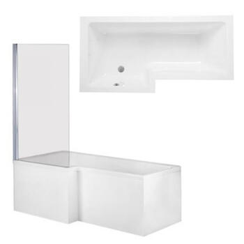 Qube Shower Bath Front, End Panels & Double Hinged Shower Screen Left Hand Shower Bath