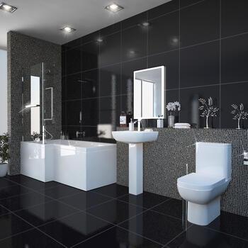 modern acrylic quality modern acrylic quality Laguna L Shape Shower Bath Left Handed