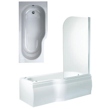 Space Shower Bath Front, End Panels & Shower Screen Right Hand Shower Bath