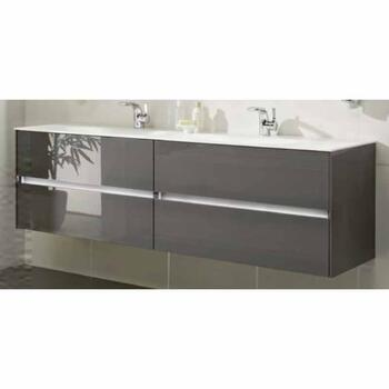 fashionable Solitaire 6010 1520 4 Drawer Double Basin Vanity Unit