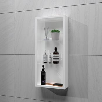 White glass shelf bathroom cabinet