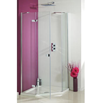 Idyllic  1200 x 900 Frameless Neo Angled Hinged Door Fashionable Bathroom