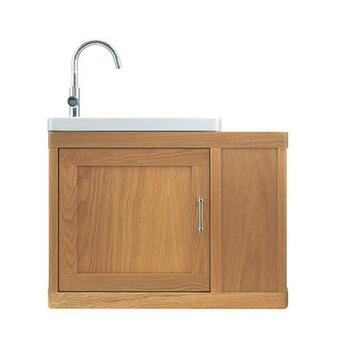 Traditional periodic Thurlestone Traditional Cloak Offset Bathroom Vanity Unit L/H Solid Wood straight basin