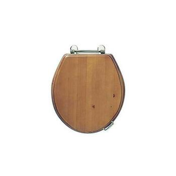 Oval Solid Wood Toilet Seat Antique Gold Hinge (Colour Options)