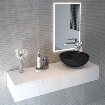 White wall hung 2 drawer vanity unit