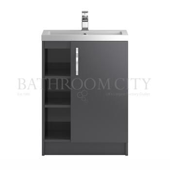 Modern contempory Apollo Open shelf 600mm bathroom vanity Unit straight basin