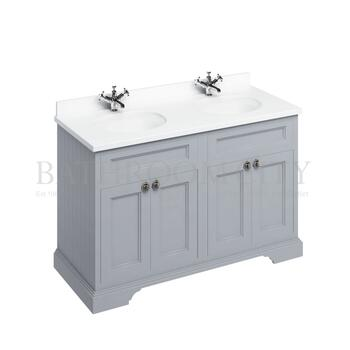 Traditional periodic Freestanding 130 Vanity Unit with doors straight basin