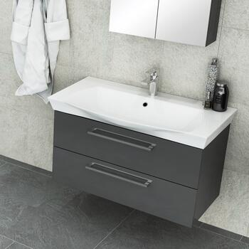 Pemberton 2 draw wall hung unit anthracite and basin - 178519