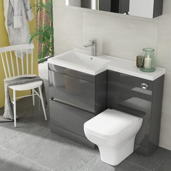Pemberton L shape 2 drawer basin and toilet combination vanity unit grey - 178566