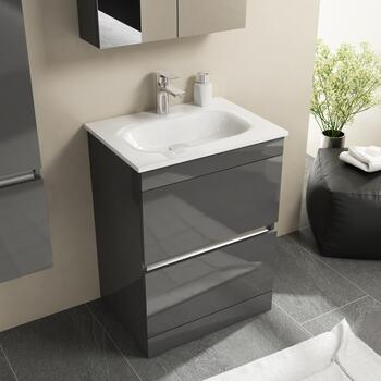 Pemberton Floor Standing Handless 2 Draw Unit Grey With Glass Stone Basin - 178569