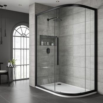 Jaquar Black Shower Enclosure Clear Glass Offset Quadrant - 179372