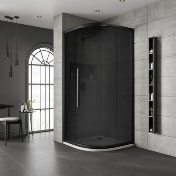 Jaquar Black Shower Enclosure Dark Glass Quadrant - 179376