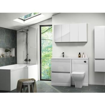 Pemberton L shape Bath Bathroom Furniture Suite White - 179550