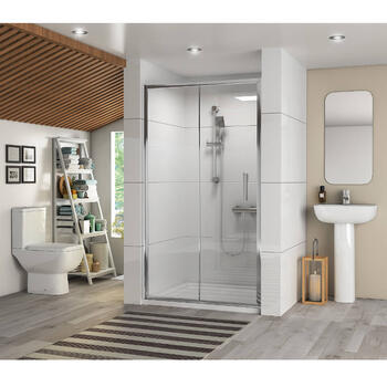 Sliding Shower Door With Basin and Pedestal