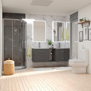 Grey Shower Bathroom Suite with Shower, Double Wall hung unit and closed coupled toilet