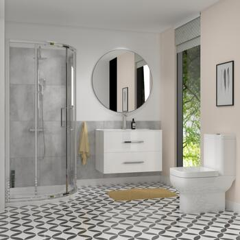 Bathroom Shower Suite in White with Wall hung vanity and toilet