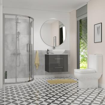 Grey bathroom shower suite with wall hung vanity unit