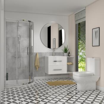 White Shower Suite with Vanity unit & Toilet