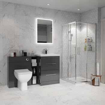 Bathroom Shower Suite in Grey with Storage