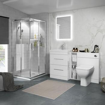 Bathroom White Shower Suite with Storage