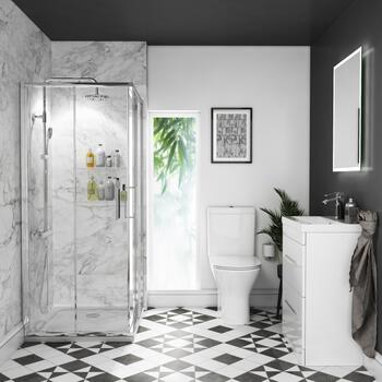 Bathroom Shower Suite with 600mm Vanity with Draws and Toilet