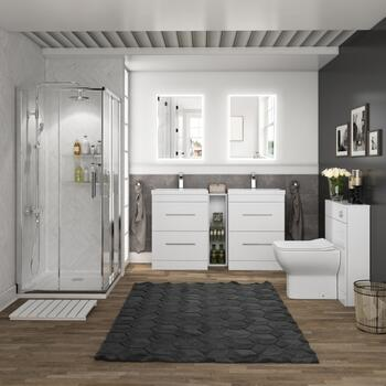 Twin Vanity Unit with Shower and Toilet
