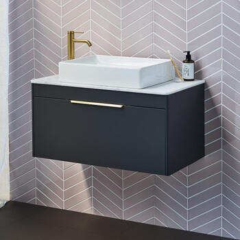 Britton Shoreditch Wall Hung Single Drawer 850mm Vanity Unit with Quad Countertop Basin Main
