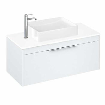Britton Shoreditch Wall Hung Double Drawer 1000mm Vanity Unit with Quad Countertop Basin White