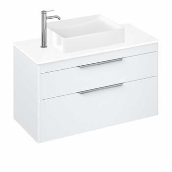 White - Britton Shoreditch Wall Hung Double Drawer 1000mm Vanity Unit with Quad Countertop Basin