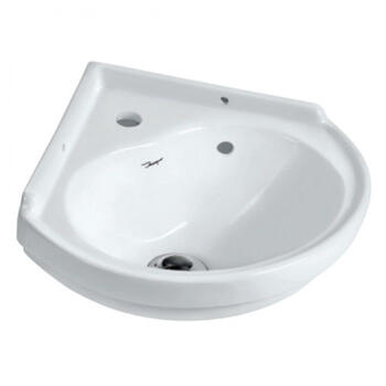 Small Ceramic Corner Basin, 1 Tap Hole