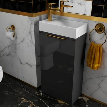 SMALL, GREY, BATHROOM, VANITY UNIT AND BASIN, WITH GOLD HANDLES