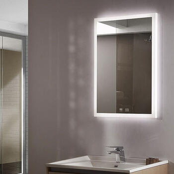 Lifestyle image of Sycamore Illuminated Bathroom Mirror with adjustable lighting