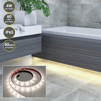 Room Scene and Close up of Bathroom LED strip lighting IP65
