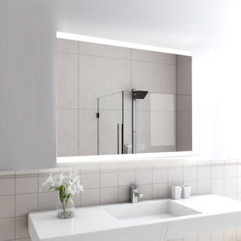Lifestyle image of Sycamore Illuminated Bathroom Mirror with Bluetooth Speaker