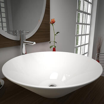 Monaco Conical Counter Top Basin Curved Round Stylish Bathroom Accessory