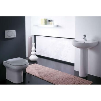 White Curved Compact Back To Wall Pan with Soft Close Seat and Pedestal and Basin