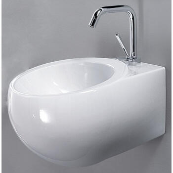 Sfera Ceramic Basin Wall Hung curved Modern
