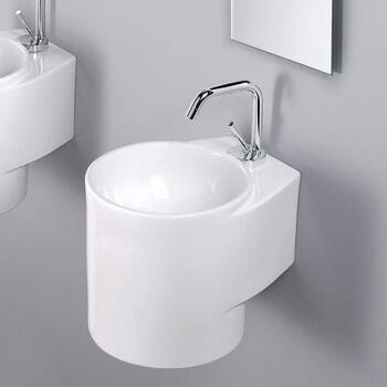 Celina White Ceramic Basin Wall Hung curved Luxurious and Stylish Bathroom Accessory