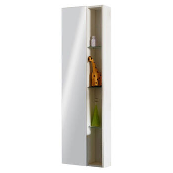 Glow White Wall Hung Mirror Storage Unit Contemporary