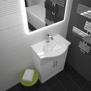 Ecco 550 Vanity Unit With Basin (White) - 22-454