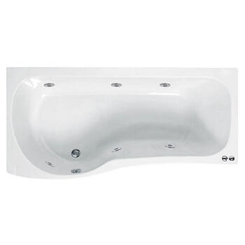 Ethan 1700 P Shaped 6 Jet Whirlpool Shower Jacuzzi Bath