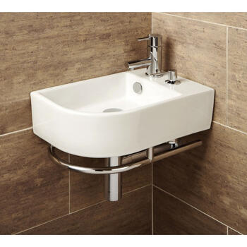 Africo Washbasin With Towel Rail And Soap Dispenser Curved Style Wall Hung for Fashionable Bathroom